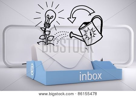 Blue inbox against growing idea graphic on abstract background