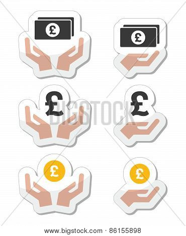 Hands with pound banknote, coin vector icons set