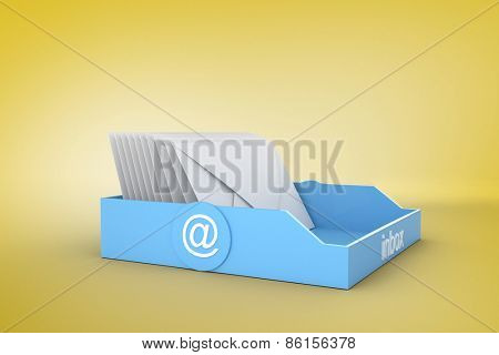 Blue inbox against yellow vignette