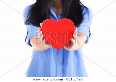 Red Heart In Woman Hands, On A White Background