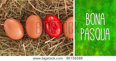 Bona pasqua against green paint splashed surface