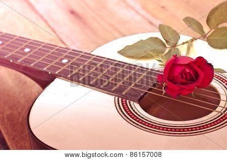 Classical Guitar And Rose.