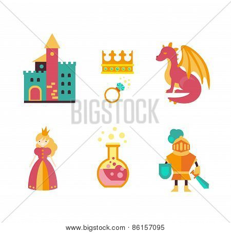 Collection of vector fairy tale elements, icons