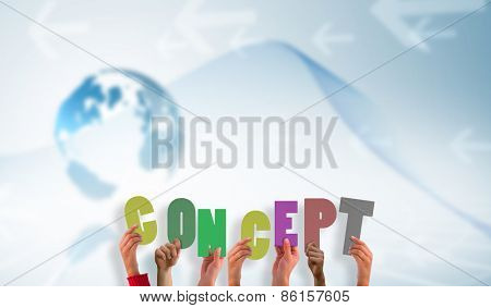 hands showing concept against global business graphic in blue