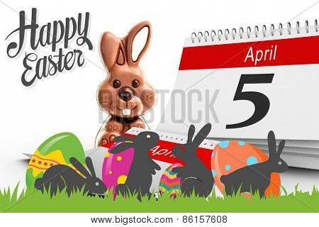 five against cute chocolate bunny