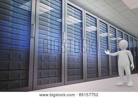 White character orating against server room