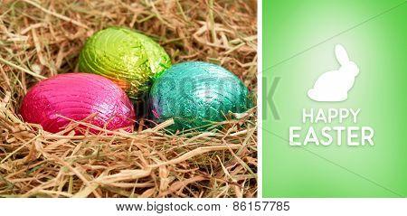 Happy Easter greeting against green vignette