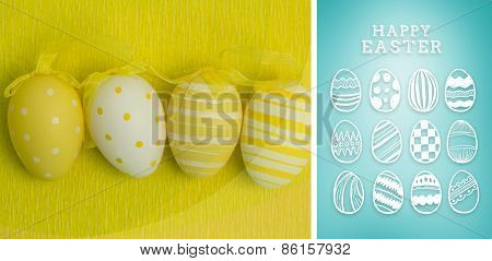 happy easter graphic against blue vignette background