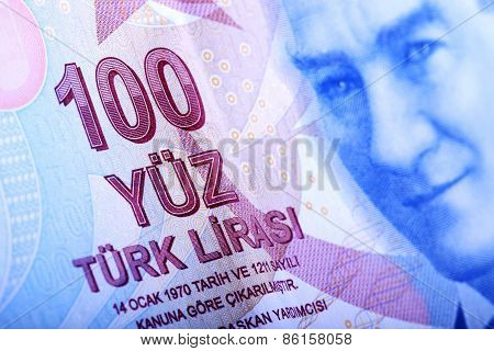 Turkish Currency, A Close Up Of A 100 Lira Note.
