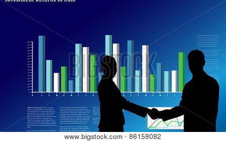 Smiling business people shaking hands while looking at the camera against business interface with graphs and data