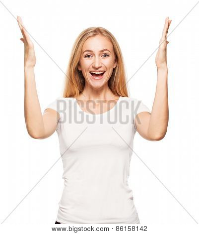 Happy enthusiastic woman on white background. Smiling emotions female