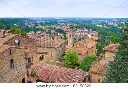 Panoramic view of Castellarquato. Emilia Romagna. Italy.