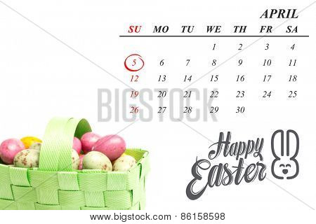 red circle against colourful little easter eggs in a green wicker basket