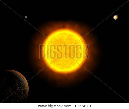 Sun With Mars, Earth And Venus