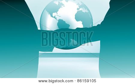 Close up on two businesspeople shaking hands against planet on grey abstract background
