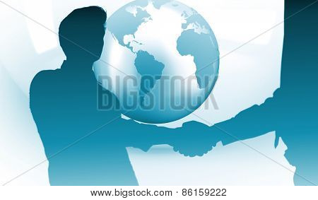 Two businessmen shaking hands in office against planet on grey abstract background
