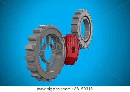 Cogs and wheels against blue background with vignette