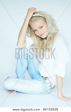 Blonde Woman In Jeans