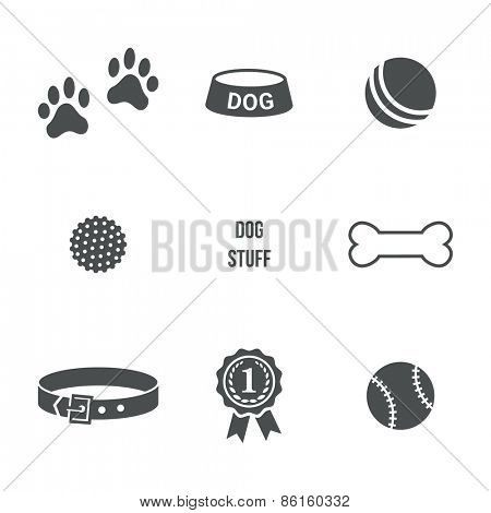 Dog stuff set. Vector icons