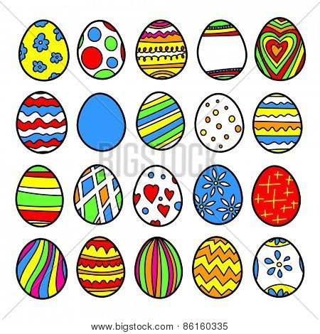 Vector set of easter eggs. Multi-colored illustration