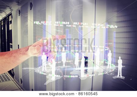 Businessmans hand pointing in shirt against data center