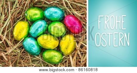 Frohe ostern against blue vignette background