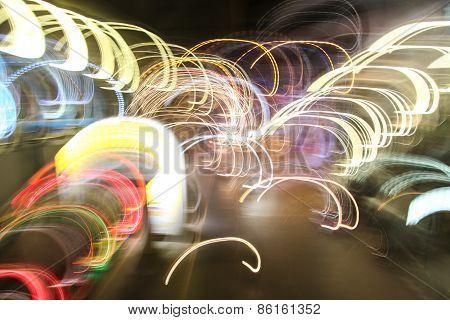 blur light on the road