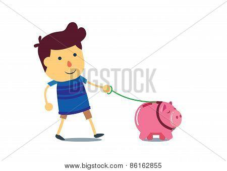 Kid walking the piggy bank pet