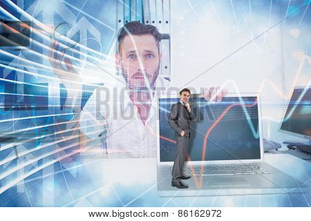 Thinking businessman against arrow graphics in blue and white