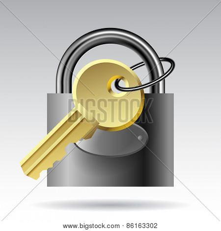 Key and padlock website icon. Vector illustration