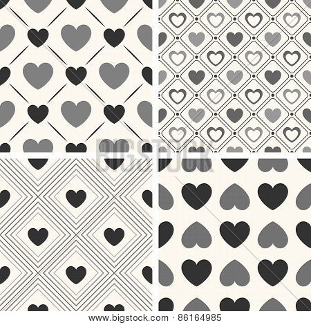 Heart shape vector seamless patterns. Black and white colors