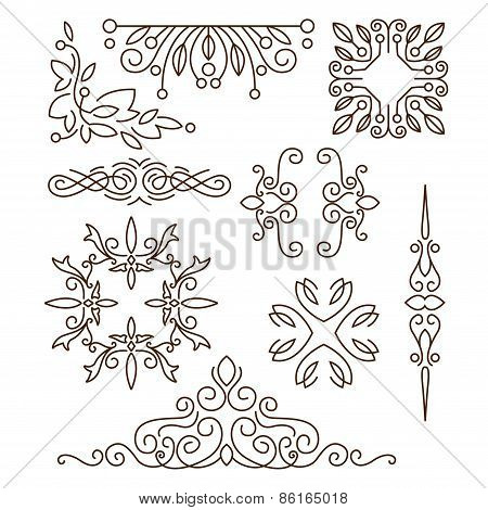 Monograms,line design elements for logos, frames and borders in modern style vector