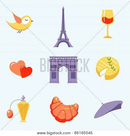 Icons with Paris symbols vector