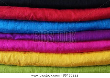 set of colorful fabrics