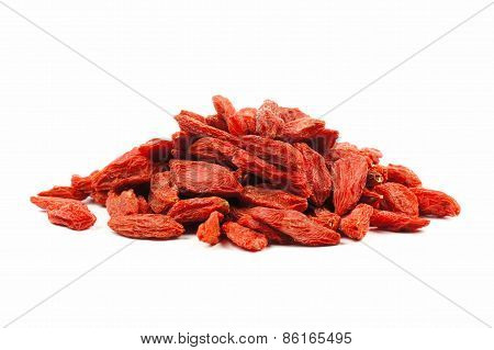 Pile of goji berries over white