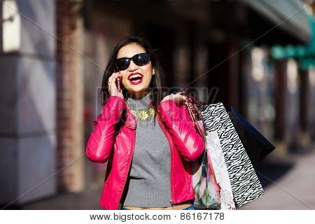 Shopping Woman Talking On Mobile Phone