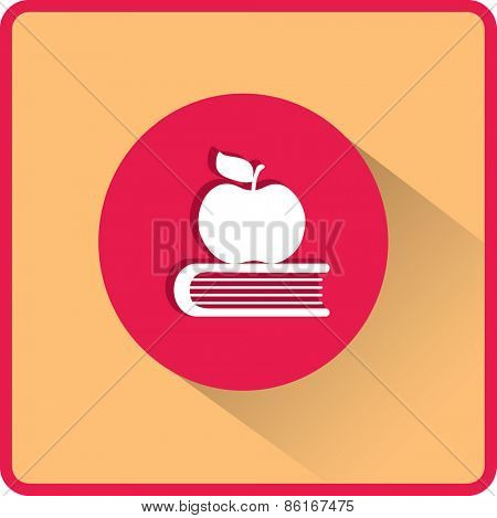 Apple and book. Education, modern flat vector icon