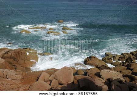 Brittany, Pink Granite Rocks In Ploumanac'h