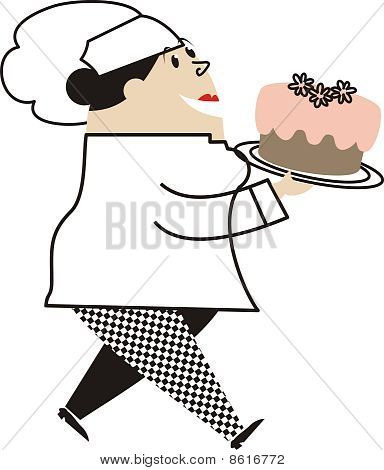 Fat Female Pastry Chef Carrying Cake