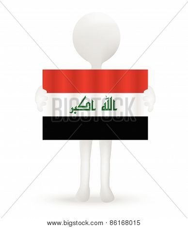 Small 3D Man Holding A Flag Of Republic Of Iraq