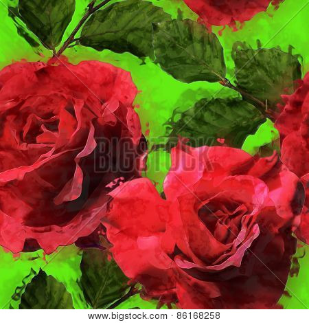 art vintage floral seamless pattern with red roses on bright green background