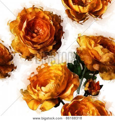 art vintage floral seamless pattern  with golden peonies isolated on white background