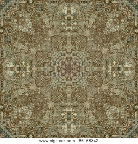 art deco ornamental vintage pattern, S.5, monochrome background in beige, olive, brown and black colors