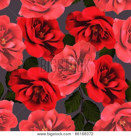art vintage floral seamless pattern  with red roses on grey background