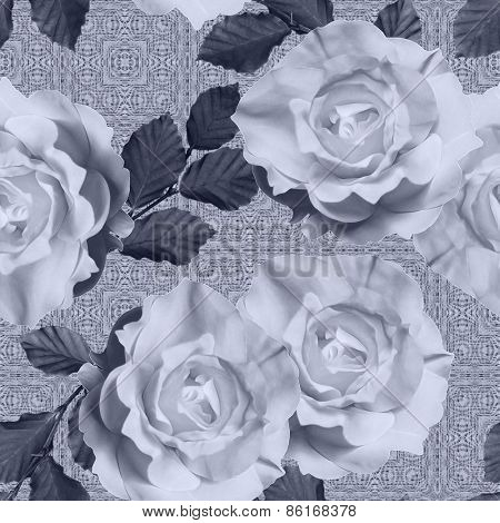 art vintage monochrome floral seamless pattern with tea white roses on ornamental background in grey color