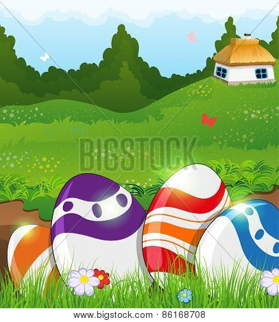 Easter Eggs In The Grass And Rural House