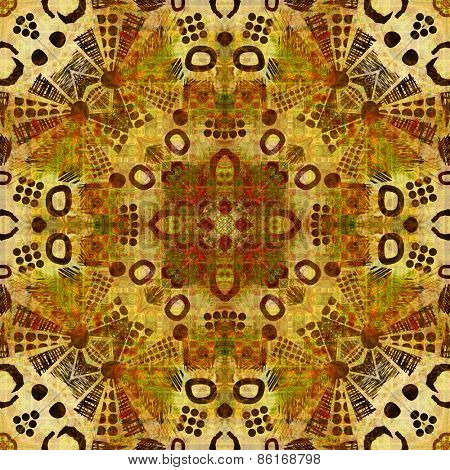 art deco ornamental vintage pattern, S.4, monochrome background in gold, green  and brown colors