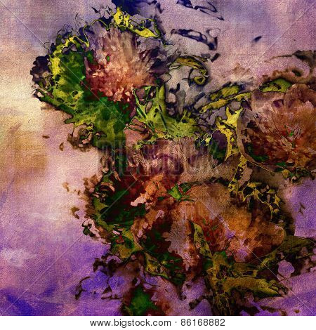 art colorful grunge floral watercolor paper textured background with peonies in lilac, violet, gold, brown and green colors