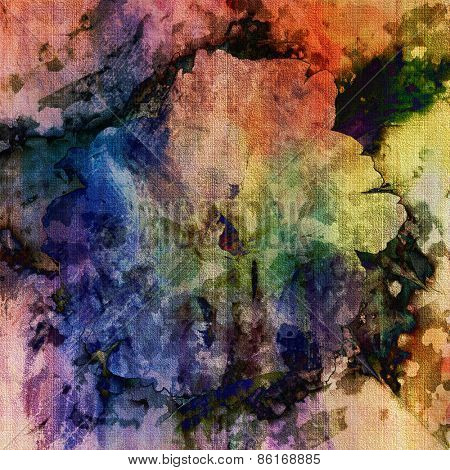 art colorful grunge floral watercolor paper textured background with peonies in lilac, blue, gold, pink and green colors
