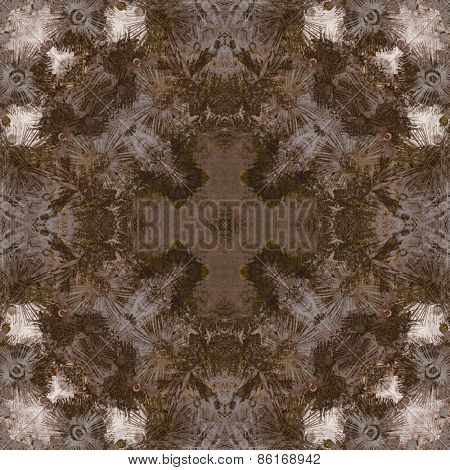art deco ornamental vintage pattern, S.10, monochrome background in brown, beige and white colors